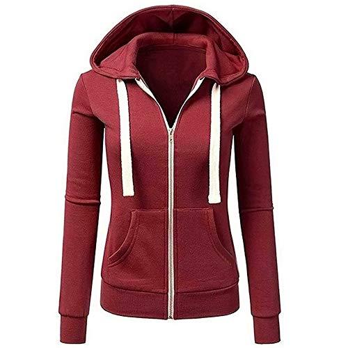 Misaky Women's Hoodie Autumn Winter Warm Patchwork Solid Color Hooded Zipper Casual Sport Coat(Wine, Medium)