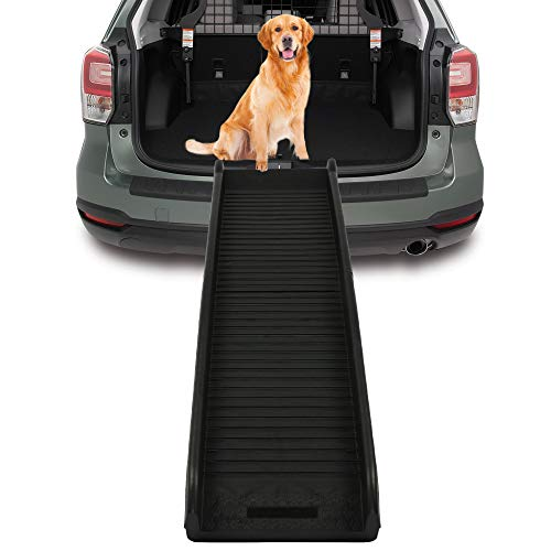 LUCKYERMORE Foldable Dog Ramp for Small Dogs 62'' Pet Safety Ramp for Elderly Dogs Portable Cat Ramps for Car SUV Pool Stairs Trucks,Black