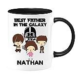 Tazza da caffè personalizzata con scritta 'Best Father in the Galaxy, dad of 3 Boys 1 Girl, regalo per festa del papà, Star Wars, Darth Vader