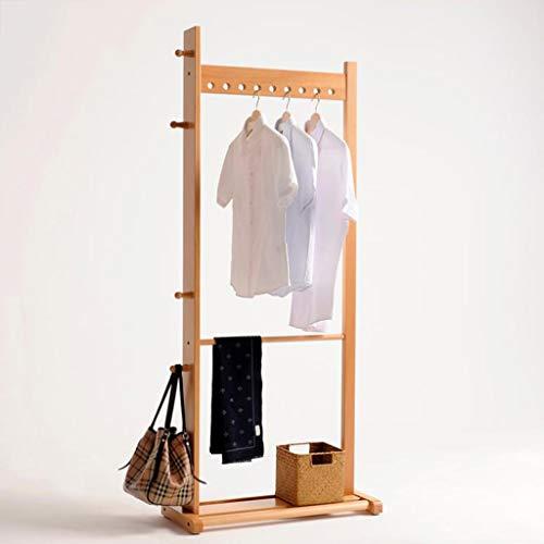 MBZL - Barra para colgar ropa, abrigo de madera Rack Garment Rack Free Standing con baúl zapatero Rack (color: Wood Color, tamaño: 75 x 32 x 175 cm)