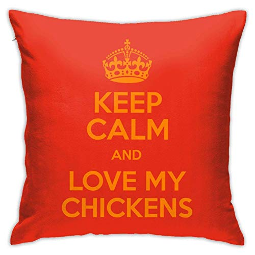 XCNGG Funda de Almohada Funda de cojín de Almohada para el hogar Ropa de Cama Throw Pillow Case, Love Chickens Pillow Cover, Decorative Pillowcase Square Cushion for Sofa Couch Car 18x18