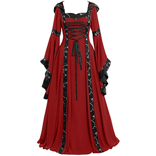 F_Gotal Women Medieval Dress Renaissance Lace Celtic Vintage Gothic Floor Length Long Dress Cosplay Retro Gown Cocktail Red