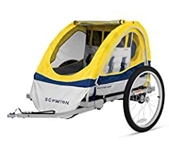 Tow behind style bike trailer, universal bike coupler will fit most bicycle rear wheels, 5-point rider harnesses with shoulder patches, safety flag for extra visibility Two-in-one canopy, bug screen and weather shield options, rear ventilation window...
