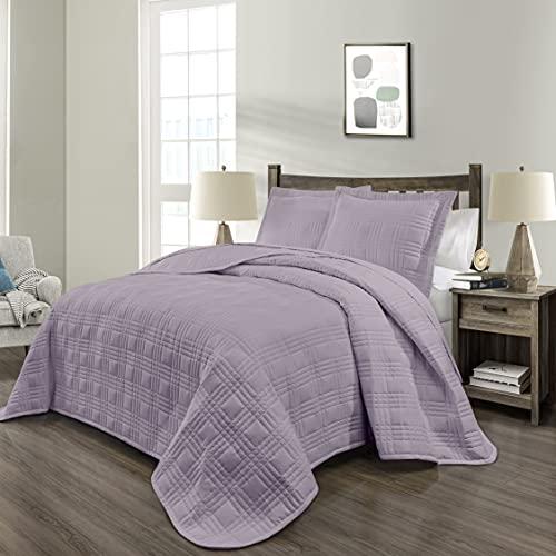 PHRIXUS Tagesdecke-Set, ultraweich, leichte Füllung, genäht, Ganzjahres-Bettbezug, Übergröße, 3-teiliges Steppdecken-Set, Full/Queen, Lavendel