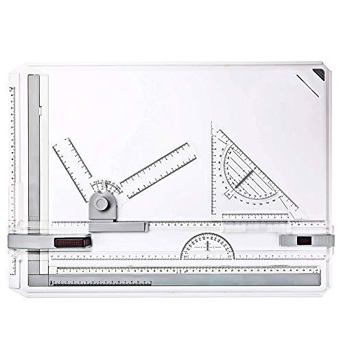 AllRight Planche à Dessin A3 Drawing Board Table à Dessin avec Mouvement Parallele Mécanique Dessin Technique Architecture Intérieure