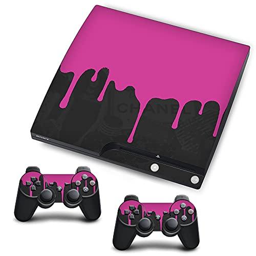 VINILOL Vinilo para Playstation 3 Slim pegatina cubierta Pintura Rosa skin para consola y 2 mandos.