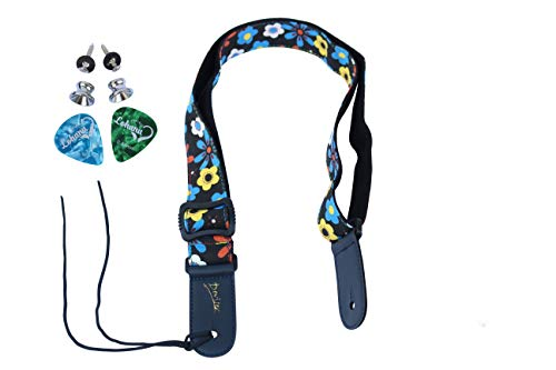 LOHANU Ukulele Strap Floral - Black Flower - 2 Buttons & 2 Picks - 2 Strap Pins Helps You Hold the Uke Easily - Simple Adjustable Length - Easy Install Manual - Soft on Neck - Soprano Concert Tenor