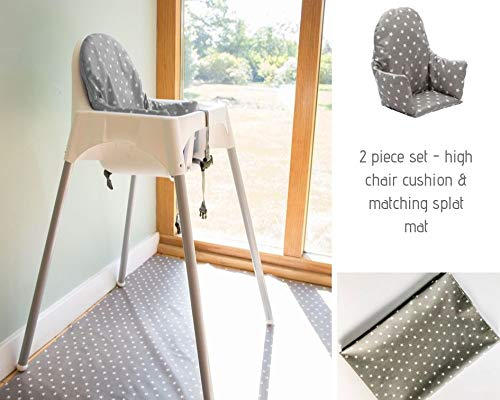 IKEA High Chair Cushion/Pad and Matching Splat Mat - 2 Piece Set. Fully Wipe Clean (Soft Grey Stars)