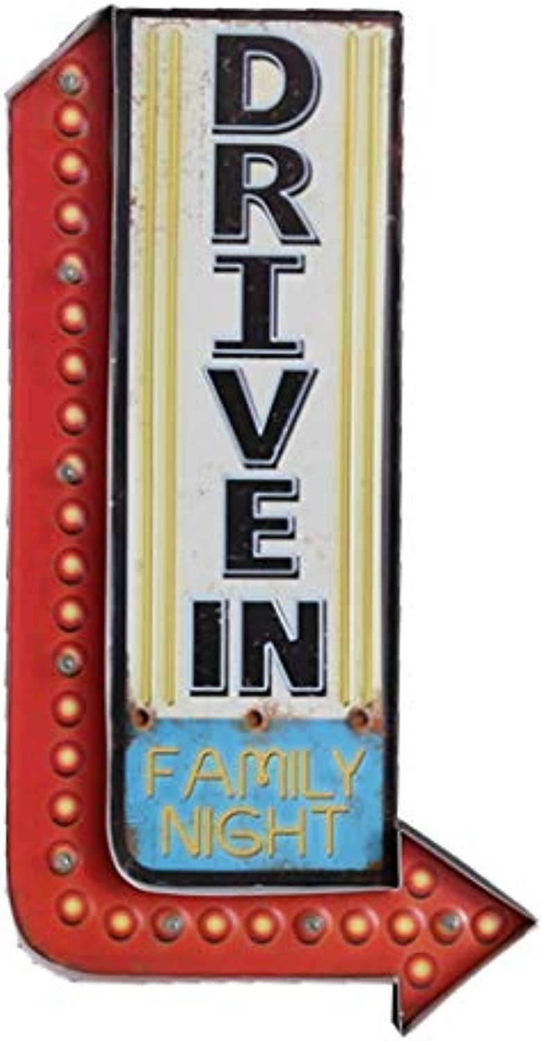 Bar Cafe Light Sign, Creative Retro Wall Hanging LED Decoration-62cm (23.8 ),Light Bulb Night Lamp, Metal (Drive In)