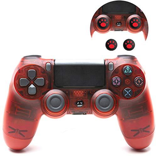 Mando para PS4, con Vibración Doble Inalámbrico Controlador para Playstation 4, Wireless Controller Bluetooth Gamepad Joystick,Crystal Red
