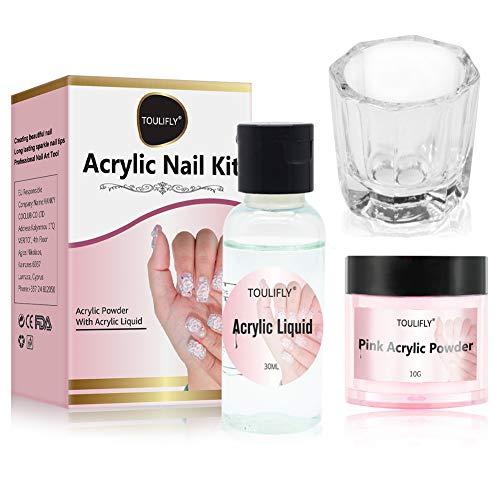 Acrylic Nail Kit,Acrylic Powder and Liquid,Polvo Acrílico y Líquido,Acrylic Nail Starter Kit,por Decoración de Uñas,Professional Acrylic Nail System,Vidrio Octogonal(Liquido: 30ml, Polvo: 10g)
