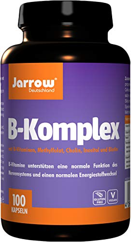 Jarrow B-Komplex, alle 8 B-Vitamine plus Cholin und Inositol, Methylcobalamin, Methylfolate vegan, optimal bioverfügbar