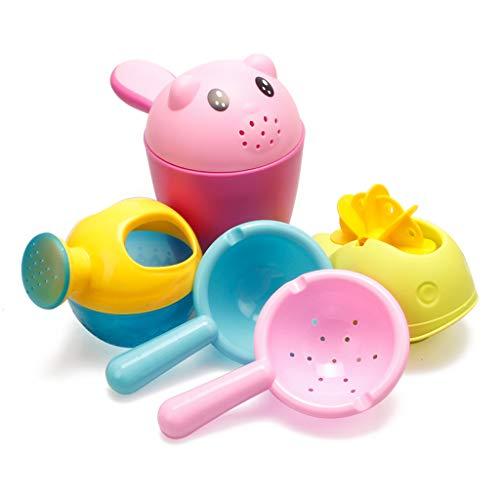 HANGESS Ensemble de Jouets de Plage Pour Bébé de 3 à 6 Ans Comprenant Un Arrosoir, Une Passoire, Un Gobelet à Shampoing, Une Roue à Aubes