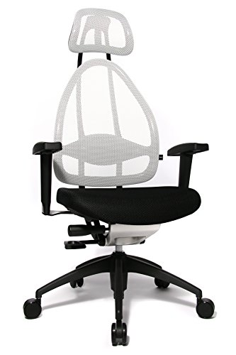 Topstar Open Art 2010 ergonomischer Bürostuhl, Schreibtischstuhl, inkl. höhenverstellbare Armlehnen, Rückenlehne und Kopfstütze, Stoff schwarz / weiß