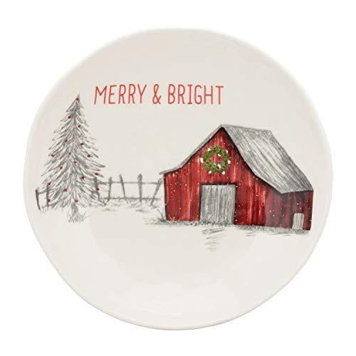 10 Strawberry Street Winter Wonderland Merry & Bright Barn Large Ceramic Christmas Serving Bowl, One Size, White