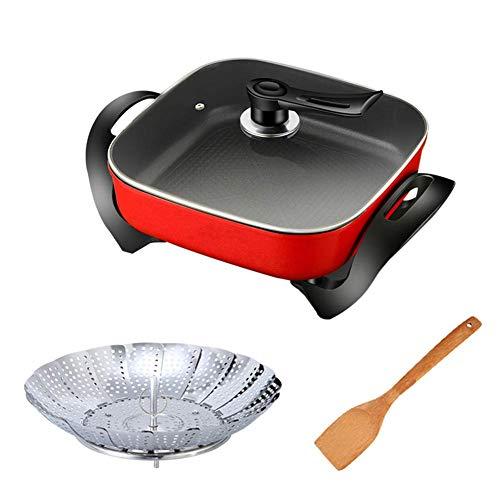 Fondue Hot Pot Elektrische barbecue, moderne coruPC Hot Pot Hot Pot Pan zonder anti-aanbaklaag rook, frituurpan voor de keuken Red With Steaming Tablets
