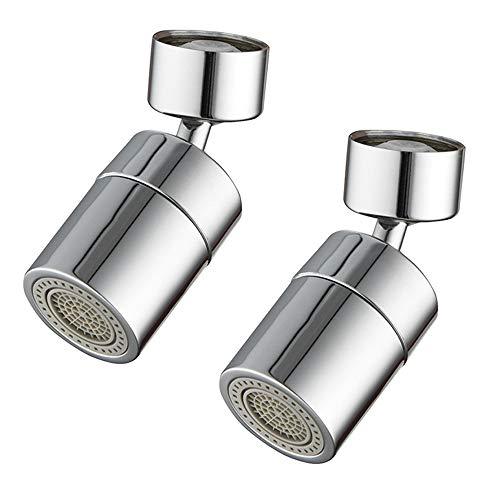 Gobesty Wasserhahn-Luftsprudler, 2 Stücke Wassersparender Siebstrahlregler Rostfreier Stahl Wassersparer 360-Grad-drehbarer Schwenkkopf Geeignet für Küche/Bad, Zwei Unterschiedliche Wasserdruchflüsse