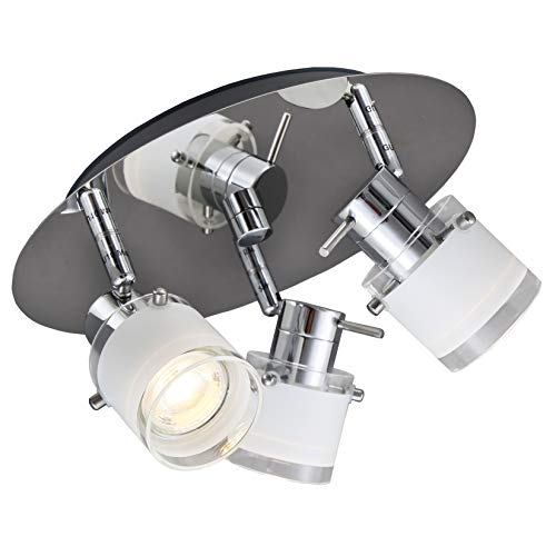 B.K.Licht I LED Bad Deckenleuchte I schwenkbare Spots I IP44 Spritzwasserschutz I inkl. 3x 5W GU10 Leuchtmittel I 400lm I Warmweiße Lichtfarbe I Chrom I Glas I Badezimmerlampe I Badlampe I Deckenlampe