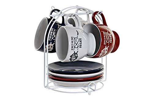 Wunderschönes Kaffee-Set mit 4 Tassen und 4 Untertassen aus Keramik mit Metallständer, modernes und modernes Design, für Kaffee mit Schokolade, originelles Design, 210 ml, 20,5 x 17 x 17 cm.