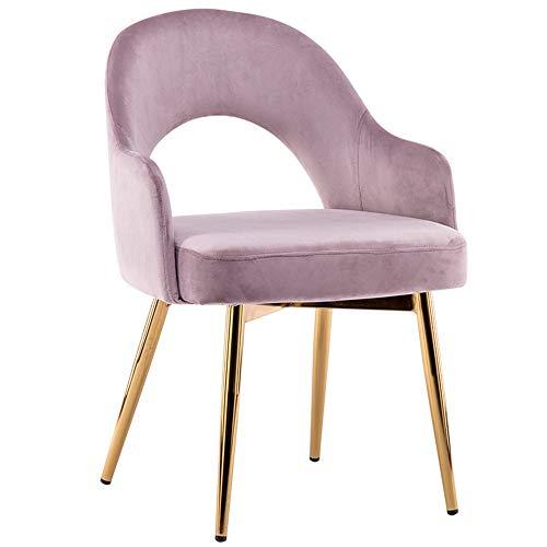 LJFYXZ Sillas de Comedor Volver Velvet Living Diseño de la Espalda Hueca Muebles de Oficina de salón Moderno Sillón de salón Patas de Metal Doradas Silla de Mesa de Comedor del hogar (Color : Pink)