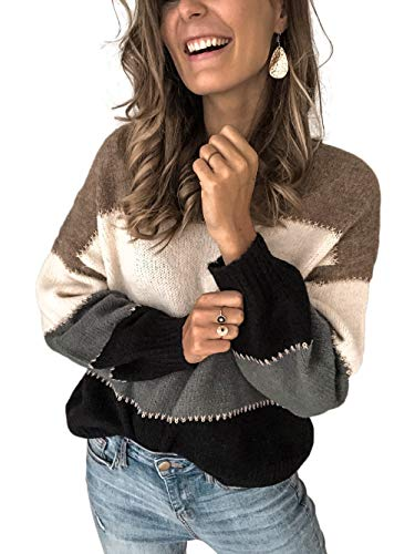 Kaei&Shi Color Block Sweater for Women Striped Colorblock Pullover Sweater Ballon Sleeve Knit Oversized Top Grey Small
