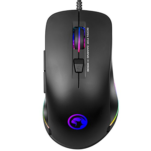 Advanced Gaming Mouse MARVO RGB Backlit Laptop Mouse 3200 DPI 7 Button USB Wired Computer Mouse with Adjustable Backlight Gaming Mice Fit for PC/Laptops/Computer, Ergonomic Design