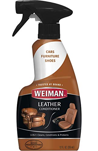 Weiman Leather Cleaner and Conditioner for Furniture  Cleans Conditions and Restores Leather Surfaces  UV Protectants Help Prevent Cracking or Fading of Leather Car Seats Shoes Purses