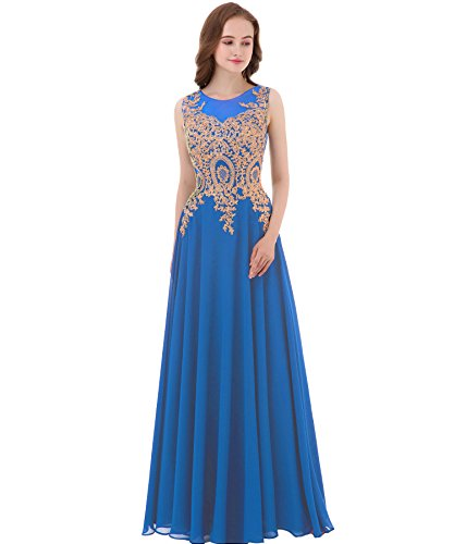 Kivary Gold Lace A Line Long Chiffon Women Formal Corset Prom Evening Dresses Light Royal Blue US 6 (Apparel)