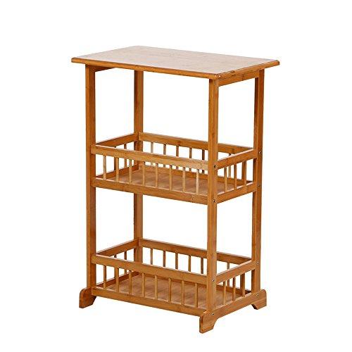 Porte-magazines et porte-journaux Landing Bamboo Multifunction Magazine Étagères Woody Simple Trois Couches Table Basse