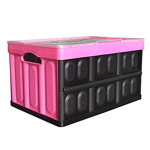 LIJIANZI Worth having - Contenedores de almacenamiento plegable de 45 L con tapas, cajas plegables de pared sólida de plástico apilable, caja de mudanza plegable reutilizable, para organización automá
