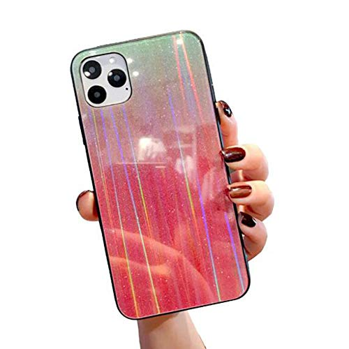 WODETIAN Transparent Aurora Gradient Color Case for Iphone 11/11 Pro/11 Pro Max Ultra Thin Tempered Glass Back Anti-Scratch TPU Bumper Shockproof Protective Case Cover,D,11