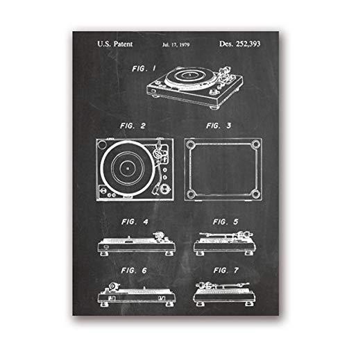 ERQINGWL Leinwanddrucke,Retro Tafel Plattenspieler Detail Anatomie Poster Ohne Rahmen Leinwand Malerei Wandkunst Bild, Geeignet Für Hotel -Wohnzimmer-Restaurant-Schlafzimmer-Wohnkultur(Ohne Rahmen)
