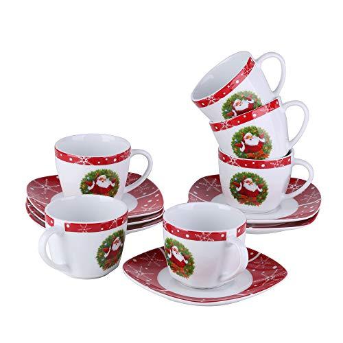 VEWEET SANTACLAUS Servizi da caffè in Porcellana Set di Tazze 220 ml e Piattini per 6 Persone