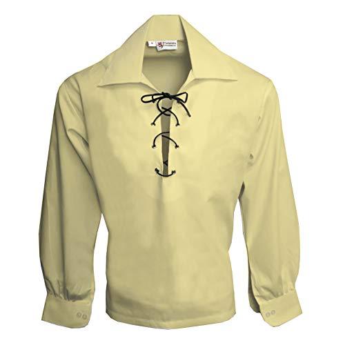 Tartanista - Herren Ghillie-Hemd mit Lederriemen - Naturfarben - L