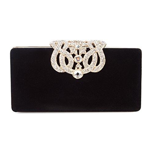 Borsetta con Tracolla da Donna Pochette con Diamante Elegante Borsetta da Sera Portafoglio Lungo, Nero