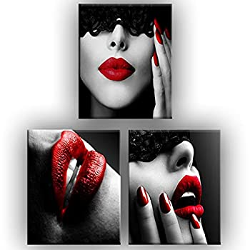 """【Note:Frameless】Ex-ART Sexy red lips beauty Canvas Painting Posters and Fashion Prints Wall Pictures(11.8""""X11.8"""") for Living Room Home Decor Please prepare frame for the painting"""
