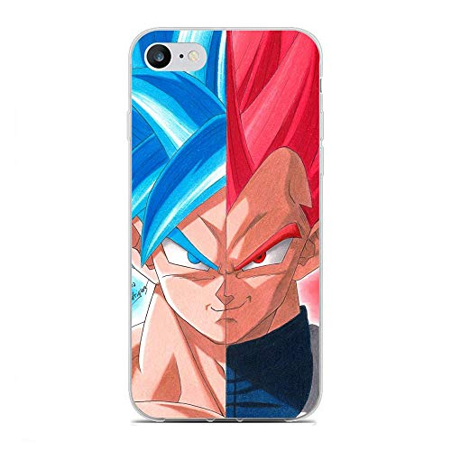 Fashionshot Transparent Slim Liquid Flexible Fundas Soft Case Back Cover for Apple iPhone 7/8/SE 2020-Super Goku-DBZ Blue 8