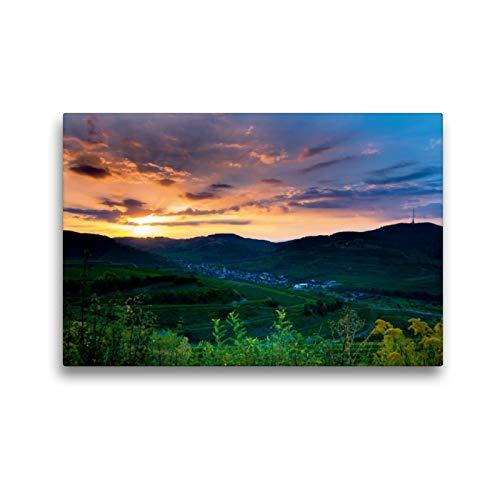 CALVENDO Premium Textil-Leinwand 45 x 30 cm Quer-Format Sonnenaufgang über Oberbergen, Leinwanddruck von Midgardson