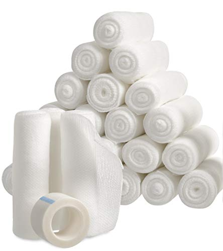 Gauze Bandage Rolls with Tape 24-Pack, Stretch Bandage Roll, 4 x 4 Yards Stretched, Breathable White Gauze Bandages, Bulk Gauze Rolls for Home, Gym & Office Use, Absorbent Bandage Rolls