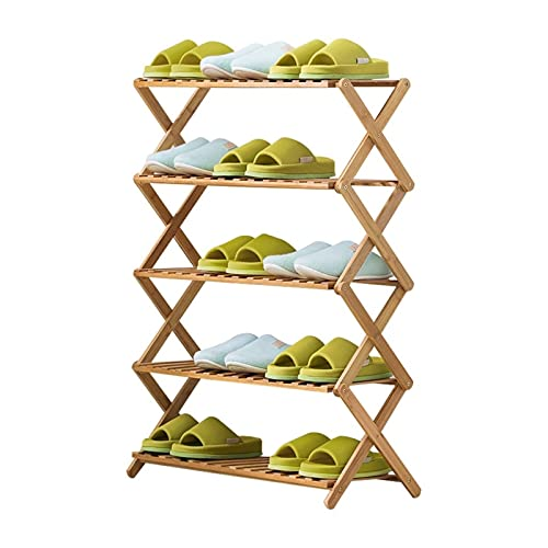 Instalación Gratuita Plegable Zapato de múltiples Capas Zapato de la casa Simple Racks Económicos Dormitorio Puerta Almacenamiento Rack Bambú Zapato Gabinete (tamaño : 38 * 26 * 94cm)