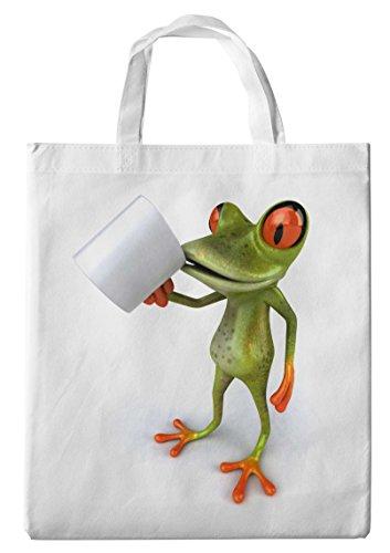 Merchandise for Fans Einkaufstasche- 38x42cm, 8 Liter - Motiv: 3D Comic Frosch trinkt Kaffee - 18