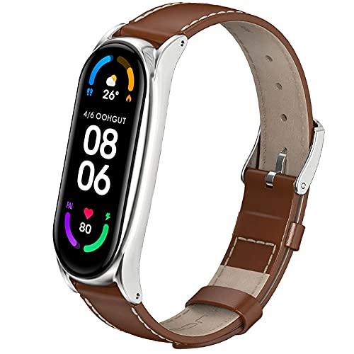 OOHGUT Bracelets pour Mi Band 6, Xiaomi Miband 5/4/3 Cuir Véritable Bracelet Ajustable Watch Straps en Acier Inoxydable Boucle Fitness Bande de Remplacement pour Universal Mi Band 3/4/5/6