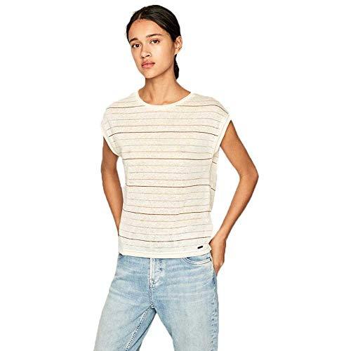 Pepe Jeans - Camiseta de mujer de lino y algodón a rayas crema S