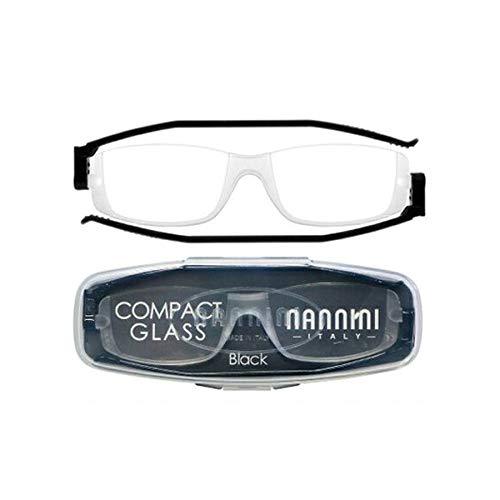 老眼鏡 コンパクトグラス2 nannini リーディンググラス 男性用 女性用 メンズ レディース シニアグラス 全12色(+3.00,ブラック)