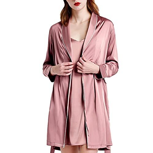 TIANLU Lencería de mujer Cuello en V Ropa de dormir Satén Seda Camisón femenino Ropa de dormir(Rosa/SG)