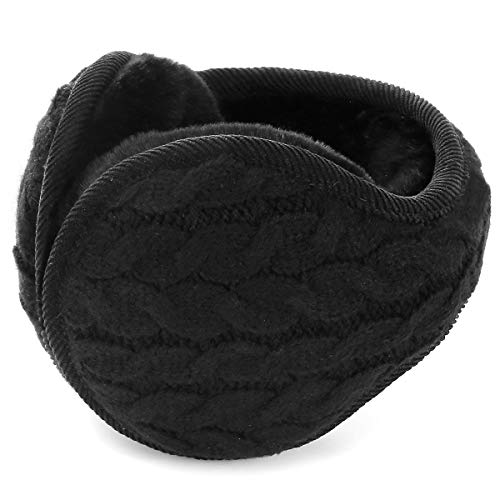 Winter Earmuff - Warm Ear Muffs Outdoor Around Foldable Adjustable Knited Unisex Ear Warmer Soft Ear Defender Winter (Black)(Size:M)