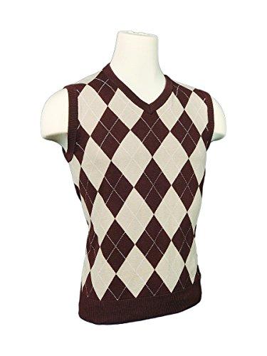 Men's Argyle Sweater Golf Vest - Khaki/Brown/White Overstitch (Large)