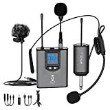 Microphone System Headset Mic/Stand Mic/Lavalier Lapel Mic with Rechargeable Bodypack Transmitter & Receiver 1/4' Output for iPhone, PA Speaker, DSLR Camera, Recording, Teaching