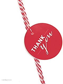 Andaz Press Circle Gift Tags, Chic Style, Thank You, Red, 24-Pack