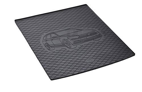 Passgenau Kofferraumwanne geeignet für VW Passat B8 Variant/Kombi ab 2014 ideal angepasst schwarz Kofferraummatte + Gurtschoner